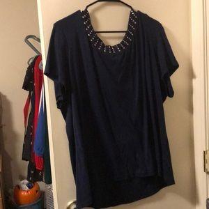 Tops - Navy blue embellished shirt